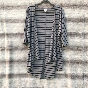 Lularoe Size M Gray Black Striped Lindsay Cardigan